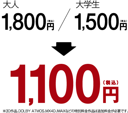 大人、大学生は1,100円(税込)※3D作品は追加料金が必要になります。